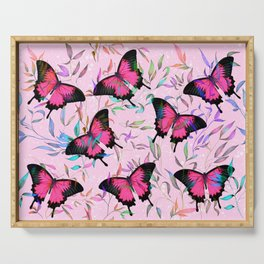 Pink butterflies among leaves Serving Tray