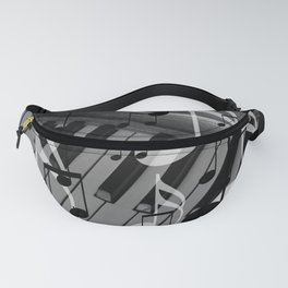 music notes white black piano keys Fanny Pack