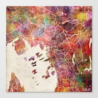 oslo Canvas Prints featuring Oslo by MapMapMaps.Watercolors