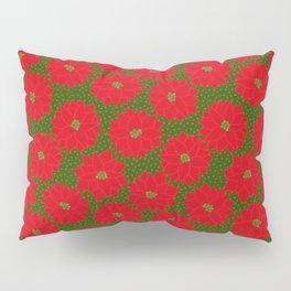 Festive Florals - Red Poinsettia on Green Pillow Sham