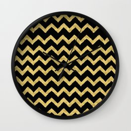 Chevron Black And Gold Wall Clock