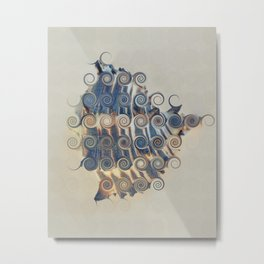 BEAUTIFUL ABSTRACT BLUE AND WHITE STRIPED SEA SHELL Metal Print