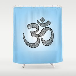 Hand-drawn pen and ink ornamental Om (aum) Shower Curtain