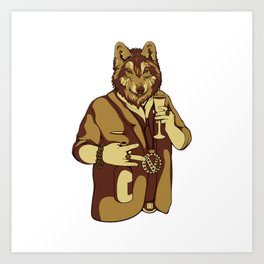 Sophisticated Wolf - having a drink Art Print