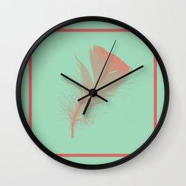 Hemlock Green Feather design Wall Clock
