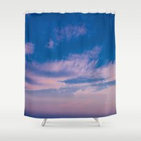 trippy Shower Curtains featuring Trippy Sky by Marie Carr