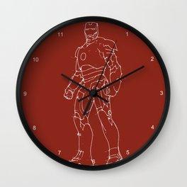 Iron man drak red background handmade drawing Wall Clock
