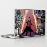 robin hood Laptop & iPad Skins featuring Dracula vs. Robin Hood vs. Jekyll & Hyde by Eco Comics