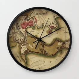 Vintage Map of Baltimore MD (1781) Wall Clock