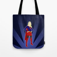 supergirl Tote Bags featuring Supergirl by livinginamovie