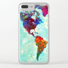 Abstract Map of the World Clear iPhone Case