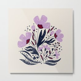 Navy and Orchid Floral Dance Metal Print
