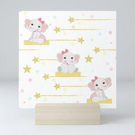 Cute elephant with shining stars seamless pattern Mini Art Print