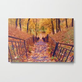 Stairs in the Fall Metal Print