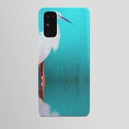 Egret in teal Android Case