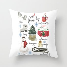 Cozy Winter Favorites Christmas Watercolor Throw Pillow