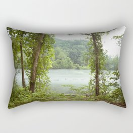 Foggy River Mountains Rectangular Pillow