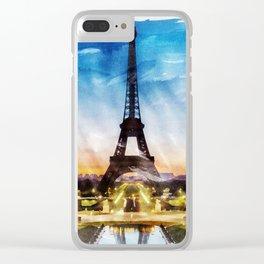 PARIS, France - Beautiful Earth / Watercolor art Clear iPhone Case