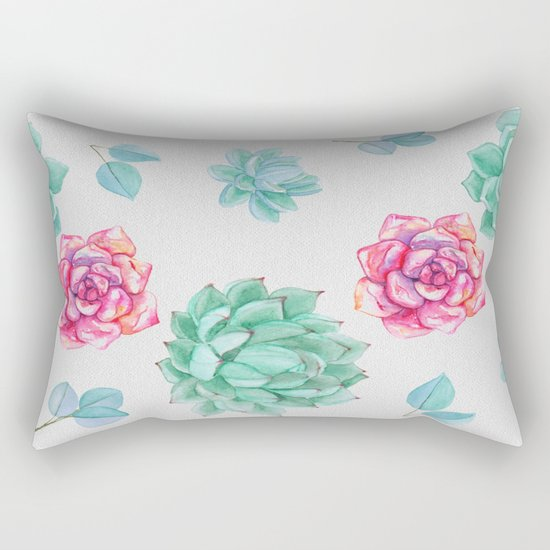 Summer Wildflowers & Succulents Rectangular Pillow