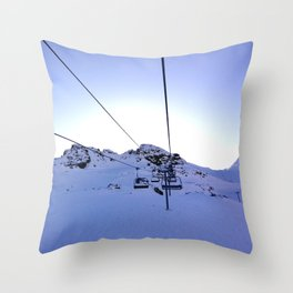 Ski-lifts at dawn of bluebird weather Throw Pillow