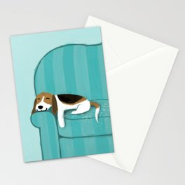 Happy Couch Beagle Stationery Cards
