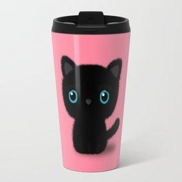Sweet Black kitten on pastel pink Travel Mug