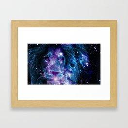 Leo Galaxy Lion : Purple Blue Framed Art Print