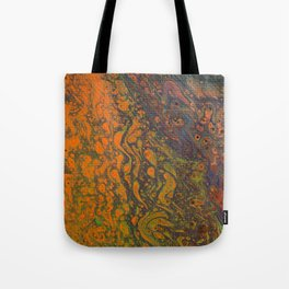 Fluid Art Acrylic Painting, Pour 16, Orange, Purple, Green & Red Blended Color Tote Bag