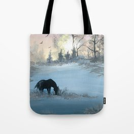Misty Morning Mustang Tote Bag