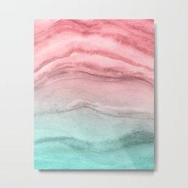 Agate Pattern Large - Pink Green Metal Print