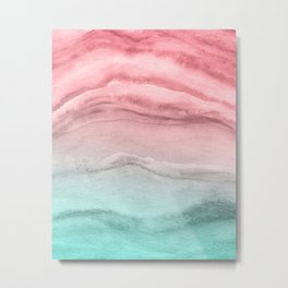 Agate Pattern Large - Pink Green Metal Print