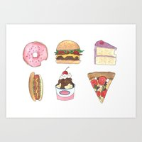 junk food Art Prints featuring Junk Food by allie fraley