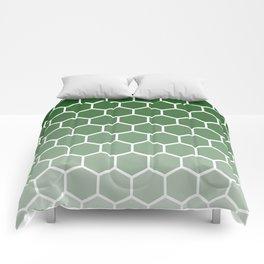 Green gradient honey comb pattern Comforters