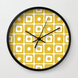 Mid Century Square Dot Pattern Mustard Yellow Wall Clock