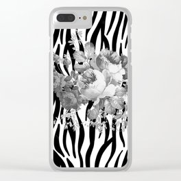 Vintage elegant black white floral zebra animal print collage Clear iPhone Case