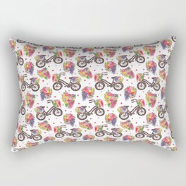 The Vintage Flowers Bike Pattern Rectangular Pillow