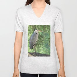 Grey heron (Ardea Cinerea) amongst trees Unisex V-Neck