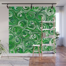 Emerald Green, Green Apple, and White Paint Swirls Wall Mural