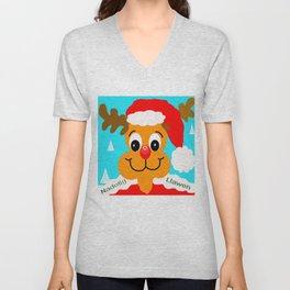 Nadolig llawen reindeer - Merry Christmas wales Unisex V-Neck