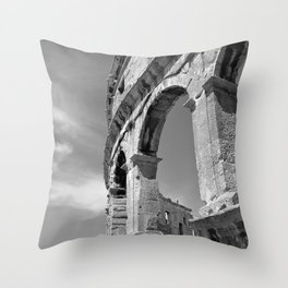 arena amphitheatre pula croatia ancient high black white Throw Pillow