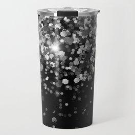 Silver Gray Black Glitter #3 (Faux Glitter - Photography) #shiny #decor #art #society6 Travel Mug