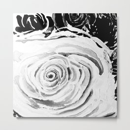 Roses For A Romantic Heart, Black and White Metal Print