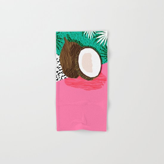 Bada Bing - memphis throwback tropical coconuts food vegan nature abstract illo neon 1980s 80s style Hand & Bath Towel