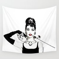 audrey Wall Tapestries featuring Audrey by Clementine Petrova