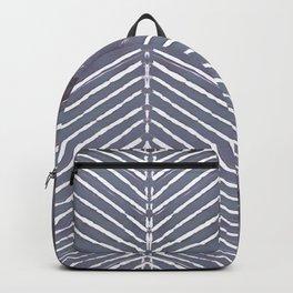 Blue-Gray Leaf Minimal Boho Batik Abstract Backpack