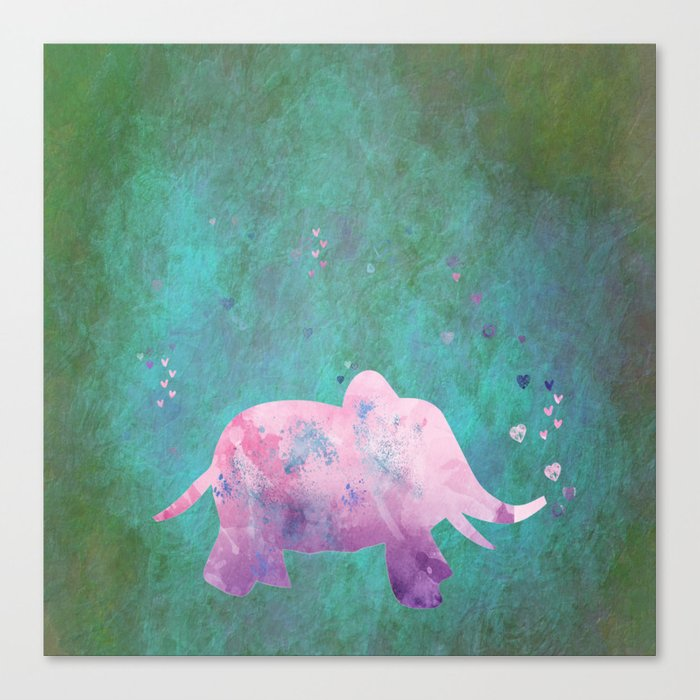 Love is in the air I- Animal Elephant on #Society6 Canvas Print