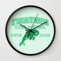 iwatobi Wall Clocks featuring Iwatobi - Orca by drawn4fans