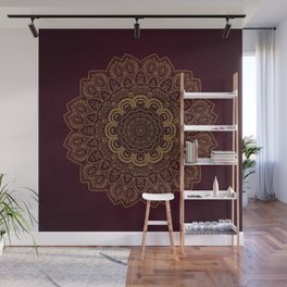 Gold Mandala on Royal Red Background Wall Mural