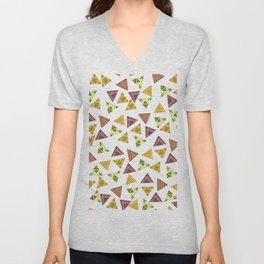 Brown yellow autumn colors hand painted tribal triangles Unisex V-Neck