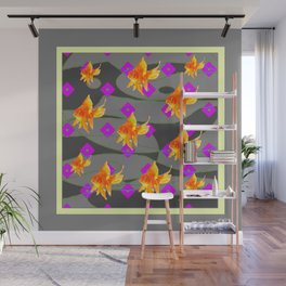 Decorative Gold Fish Modern Grey  Abstract Wall Mural